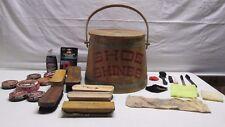Vintage Wooden Shoe Shines Bucket Barrel Shine Polish National Brush Brushes