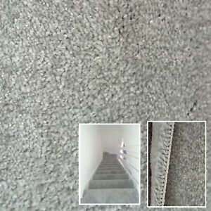 Clearance   12mm Thick Light Grey Saxony Carpet Soft Touch Carpets Hallways