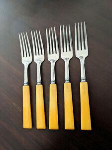 Set of 5 Vintage Faux Bone Plastic Handle Dinner Forks Stainless Steel