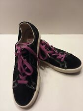 Converse One Star Girl's Youth Size 4 Black w/Pink Star & Laces Suede