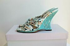 Jimmy Choo Amazon Cotton Print wedge heel sandals, EU 37.5 with box