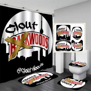 BACKWOODS 3D Waterproof Shower Curtain Toilet Lid Cover Bathroom Mats