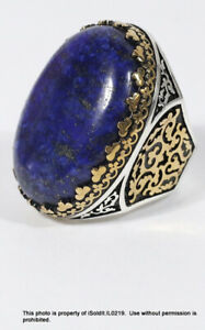MENS STERLING SILVER & GOLD RING W/ LARGE BLUE LAPIS LAZULI STONE SZ 13 Approx.