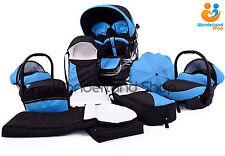 Twin Pram 3in1 Pushchair Double Buggy  Twins  UMBRELLA  +Car seats + Footmuffs