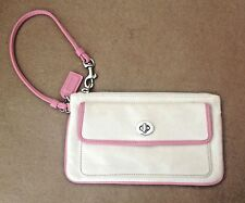 Coach Natural Canvas Pink Leather Trim Zipper Closure Wristlet Purse