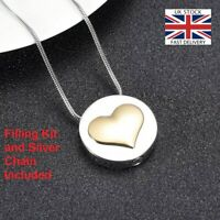 Convex Gold Heart Keepsake Cremation Urn Pendant Ashes Necklace Funeral Memorial