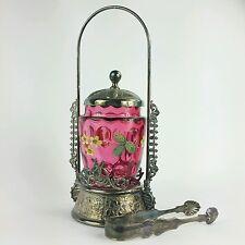 Antique Quadruple Silverplate Cranberry Glass Pickle Castor