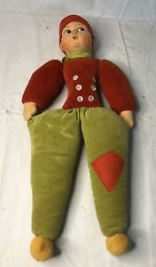 RARE VINTAGE NORAH WELLINGS ENGLAND VELVET CLOTH BOY DOLL BUTTONS RUSSIAN?