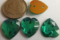 110 Vintage German Glass 13mm Teal Green Sew-on Faceted Flat Heart Stones