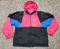 VTG 80s 90s Hip Hop Nike Womens L Windbreaker Jacket Gray Tag Colorblock Hoodie