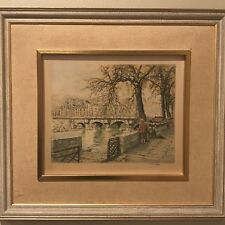 """Hans Figura Signed Stamped Etching on Silk """"Au Pont Neuf Paris"""" Gallery Framed"""