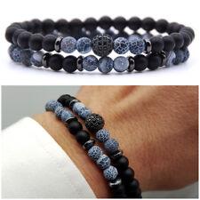 Bracciale uomo pietre set braccialetti in pietra agata con onice nero da blu