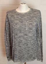 TOMMY HILFIGER Mens Grey Striped Cotton JUMPER - Size M Medium