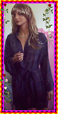 OS Victorias Secret Robe Sheer Blue Gray  Chiffon Attached Belt ONE SIZE S M L