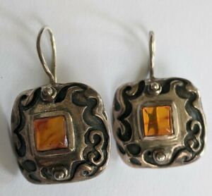 Silpada W0911 Sterling Amber Etched Scroll Earrings