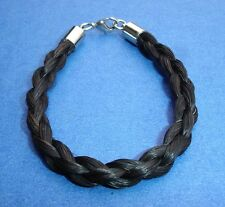 Western Jewelry Handmade Braided Black Horsehair Bracelet 4MM W/Lobster Hook