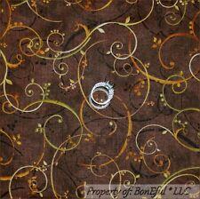 BonEful Fabric FQ Cotton Quilt Brown Leaf Green Orange Gold Thanksgiving Scroll