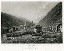 Visp Viège Gesamtansicht Stahlstich Aquatinta von Rüdisühli nach Geisser 1865