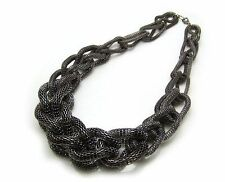 Vintage Style Statement Chunky Bib Choker Mesh Gun Metal Rope Chain Necklace