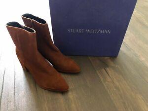 Stuart Weitzman Amaretto Notazzie Suede Block Heel Boots/Booties Size 7.5