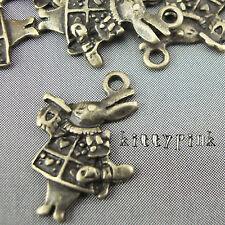 10 Antique Bronze Alice in wonderland Rabbit Charms