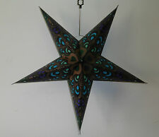 Diwali, Christmas & Wedding 5 Point Star Lampshade Dark Green Peacock Feather