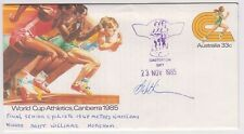 Stamp 1985 World Cup Athletics PSE CASTERTON Gift cyclist 1848m signed Winner