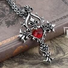 Memorial Crystal Vintage Red Cross Vampire Diaries Pendant Jewelry Necklace