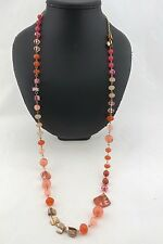 Style & Co Gold Long Mother of Pearl Peach Orange Bead Statement Necklace RP $28