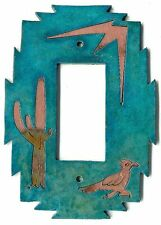 """COPPERCUTTS Roadrunner Cactus Switch Plate 4.25"""" x 6"""" SouthWest Copper and Wood"""