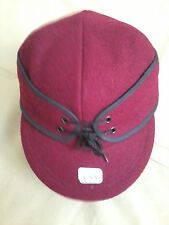 Vintage Cardinal Wool Railroad Cap, Size 8, Langenberg Hat, Made in USA, NEW