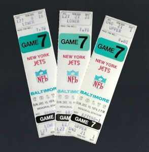 VINTAGE 1974 NFL NY NEW YORK JETS @ BALTIMORE COLTS FULL UNUSED FOOTBALL TICKET
