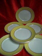 8 assiettes plates faïence MOULIN DES LOUPS ORCHIES jaune effet vannerie