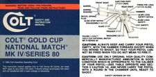Colt 1983 Gold Cup National Match MK IV Series 80 Manual