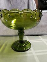 Vintage Depression Green Glass Pedestal Fruit Bowl, scalloped edges