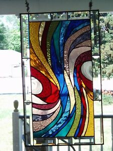 """Colorful Stained Glass panel 24""""x14"""""""
