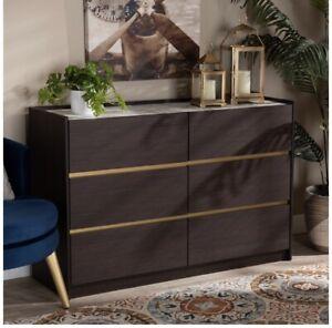 Baxton Studio Walker Dark Brown and Gold Finished Wood 6-Drawer Dresser