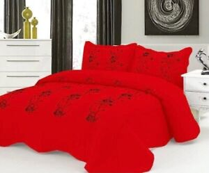 SOFIA FLOWERS RED EMBROIDERED BEDSPREAD COVERLET SET 3 PCS KING SIZE