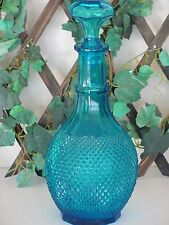 "Vintage MCM Turquoise Aqua Blue Diamond Point Glass Decanter 13"" High Pristine!"