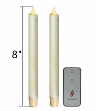 8'' Luminara Flameless LED Taper Candles w/Timer with Remote Set of 2 Ivory