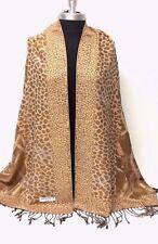 Women's Pashmina & Silk Paisley jacquard Shawl/Wrap/Scarf Color Gold/Beige #P109