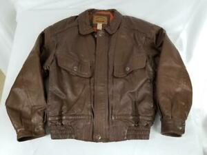 VTG Mens St Johns Bay Leather Jacket Brown Quilted Insulated Liner Size Medium