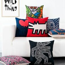 Keith Haring Cushion Cover Graffiti Art Print Throw Pillow Case Sofa Decor 45x45