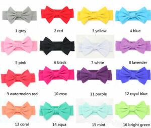Newborn Headband Elastic Baby Qute Hair Band Girls Bow-knot 17 Colors #C