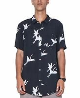 ZGY Mens Shirt Crane Black Size XL Bird Print Front Pocket Button Up $79 #057