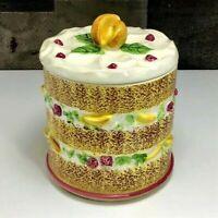 "Vintage Napco Gateau/Layered Sponge Cake w/ Peach Lid ~ Cookie Jar ~ 8"" H ~ RARE"