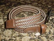 NEW MENS CLAIBORNE BROWN TAN LEATHER BRAIDED BELT SZ 34 K130