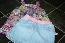 SMALL BUNDLE GIRLS SKIRT AND COLOURFUL STRAPPY SMOCK TOP 3 4 5 YEARS