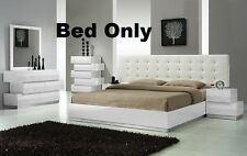 Spain White Modern Bedroom Est King Size Bed & Headboard W Leather Exterior