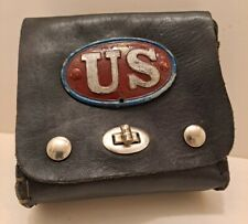New listing Vintage Black Leather Us Ammo? Belt Pouch, Bag, Homemade?
